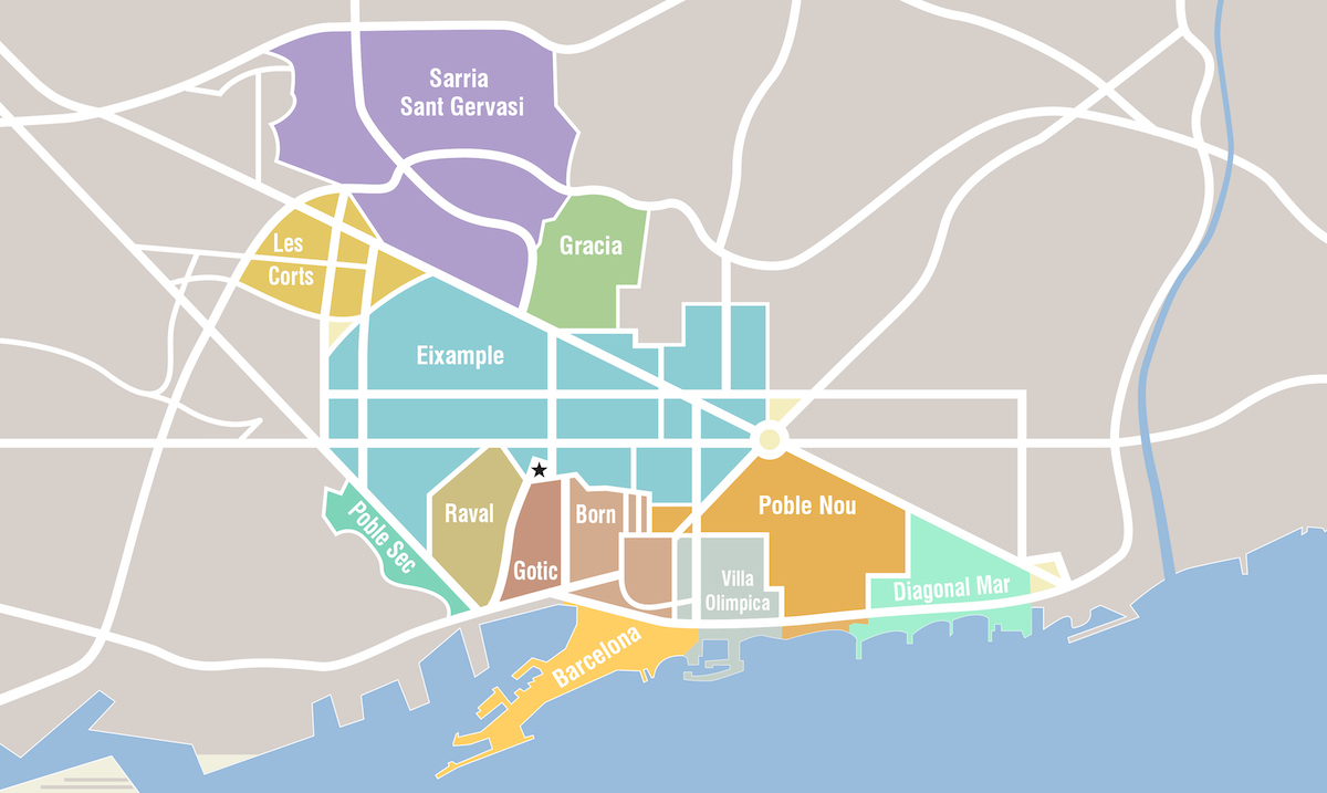Barcelona Neighborhoods Map